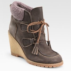 See by Chloe leather wedges boots